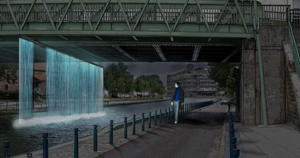 Montage of an interactive waterfall parallel to the shore, opening when someone is passing by (image by Matthias Schmitt).
