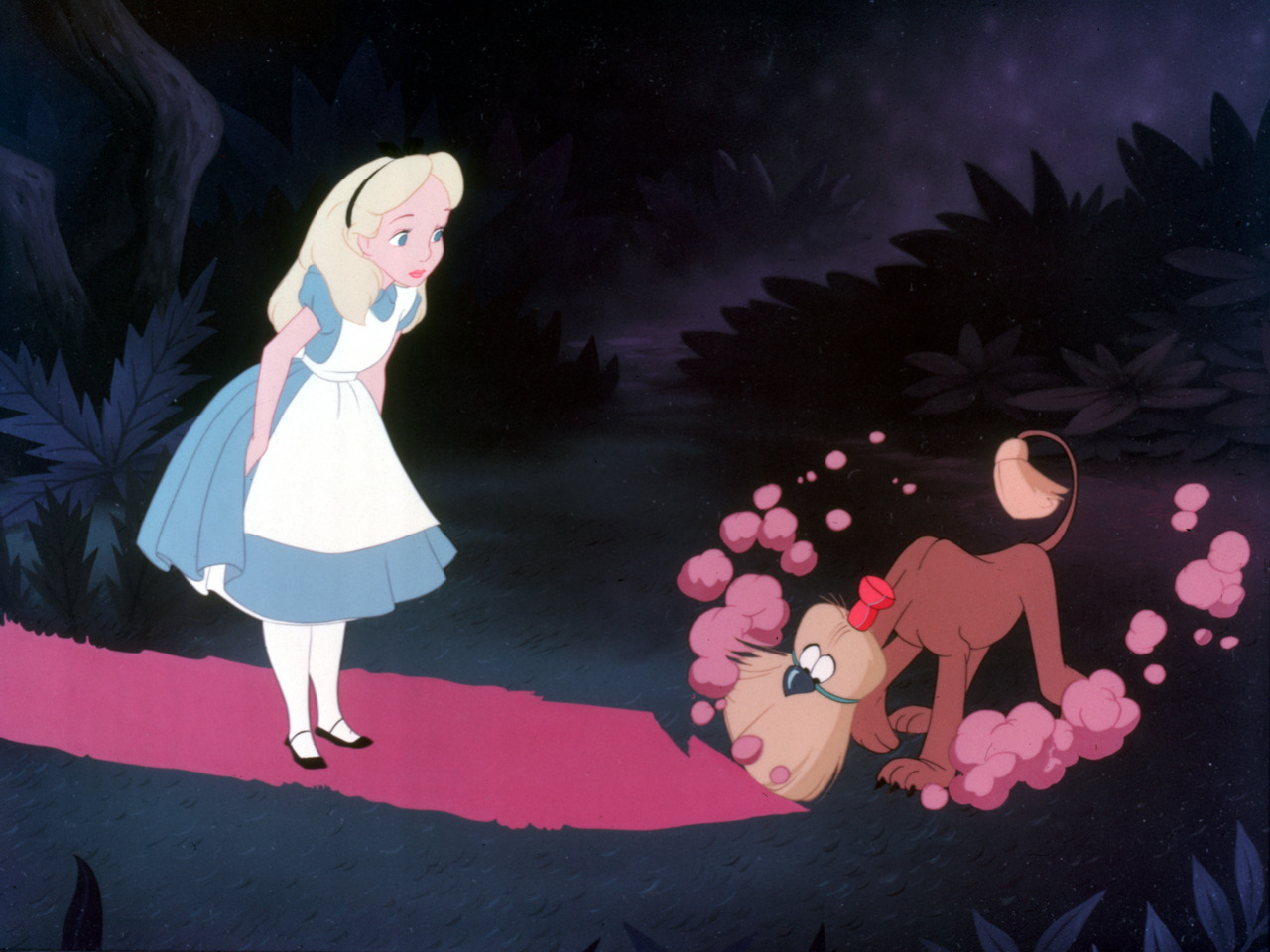 Alice in Wonderlands, lost in the forest. Disney.