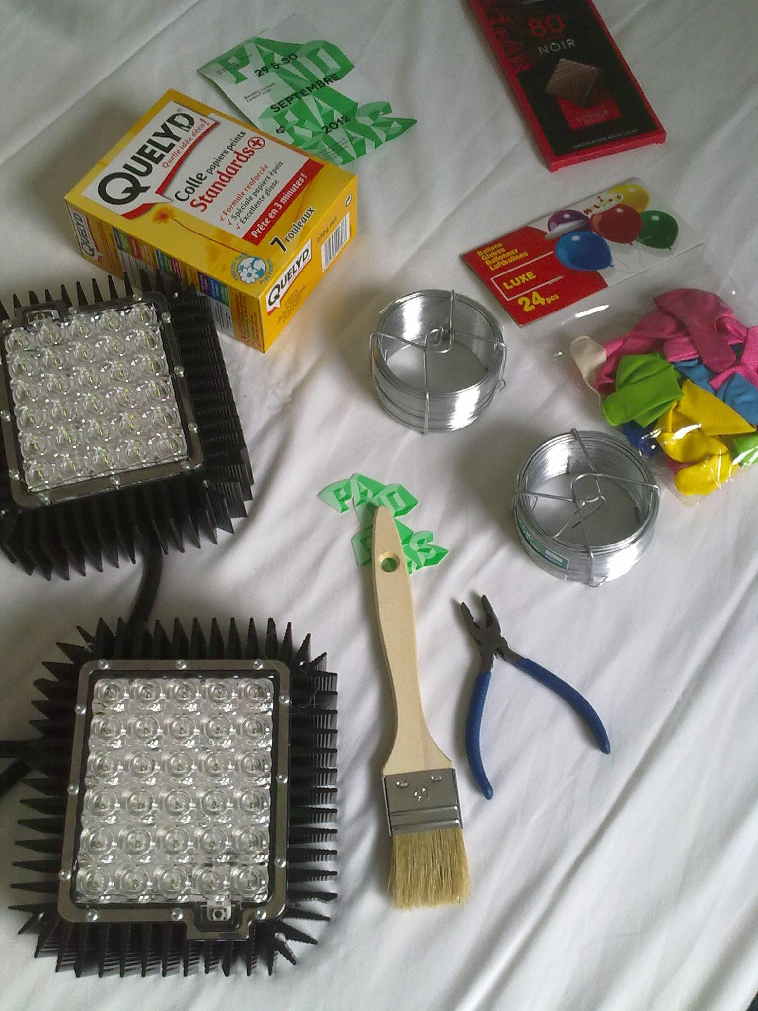 The tools needed to construct lanterns for the big LED modules.